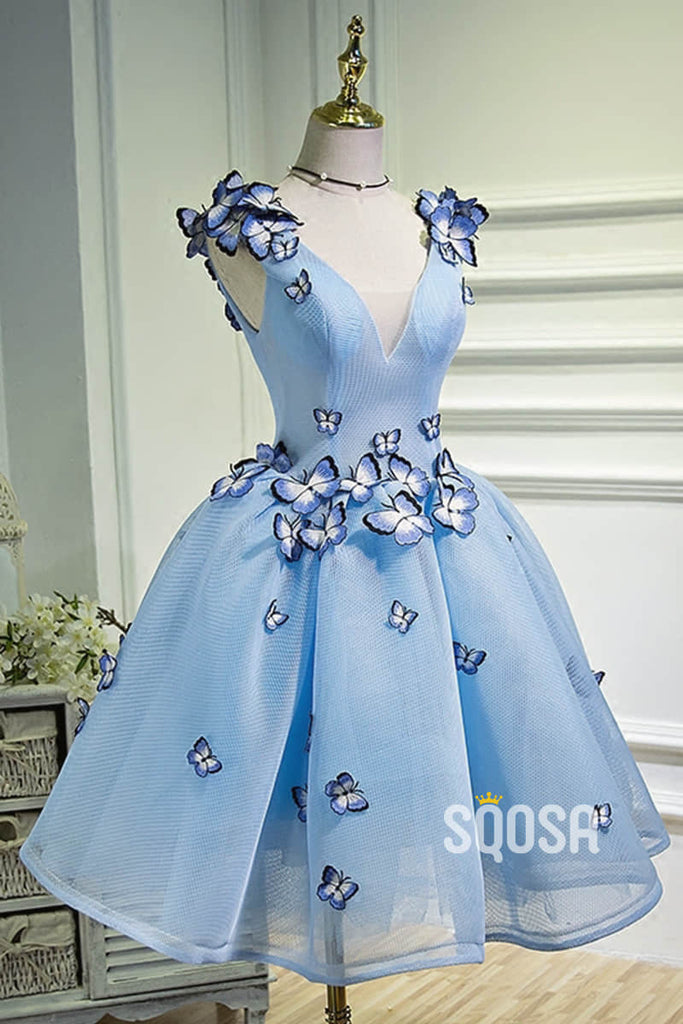A-line V-neck Sky Blue Tulle 3D Appliques Cute Homecoming Dress QH2119|SQOSA