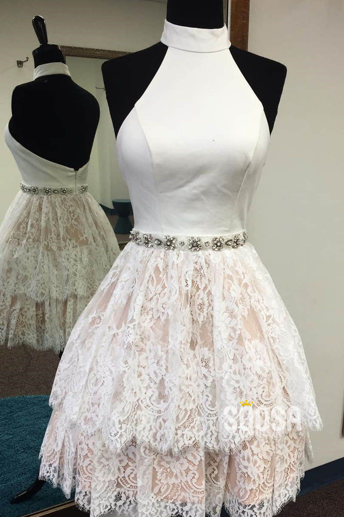 A-line Halter Ivory Lace Short Homecoming Dress Pageant Dress QS2088|SQOSA