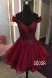 A-line Cap Sleeves Tulle Appliques Burgundy Homecoming Dress Pageant Dress QS2093|SQOSA