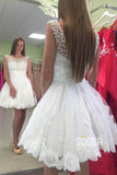 A-line Scoop Tulle Pearls Cute Homecoming Dress Short Prom Dress QS2094|SQOSA