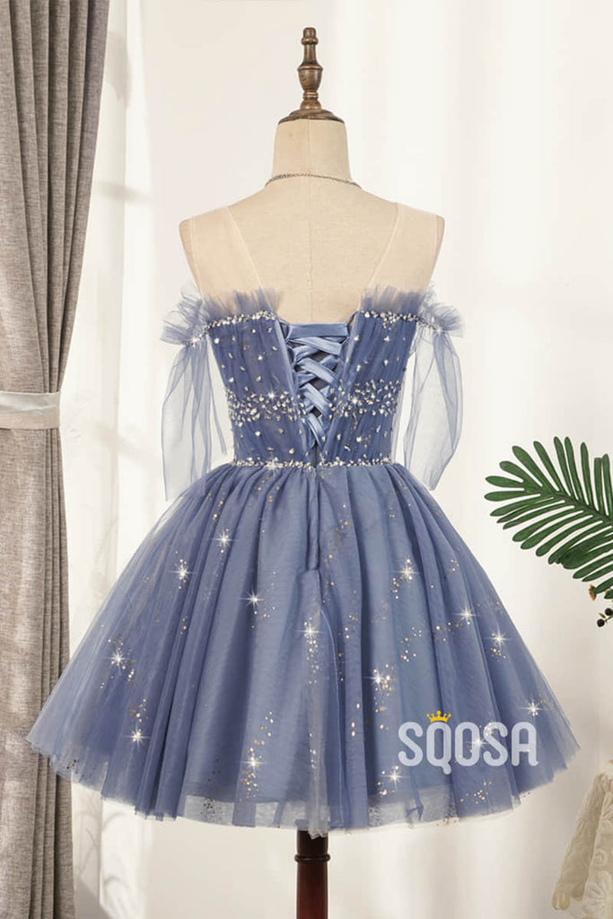 A-line Illusion Neckline Blue Tulle Beads Short Homecoming Dress QS2104|SQOSA