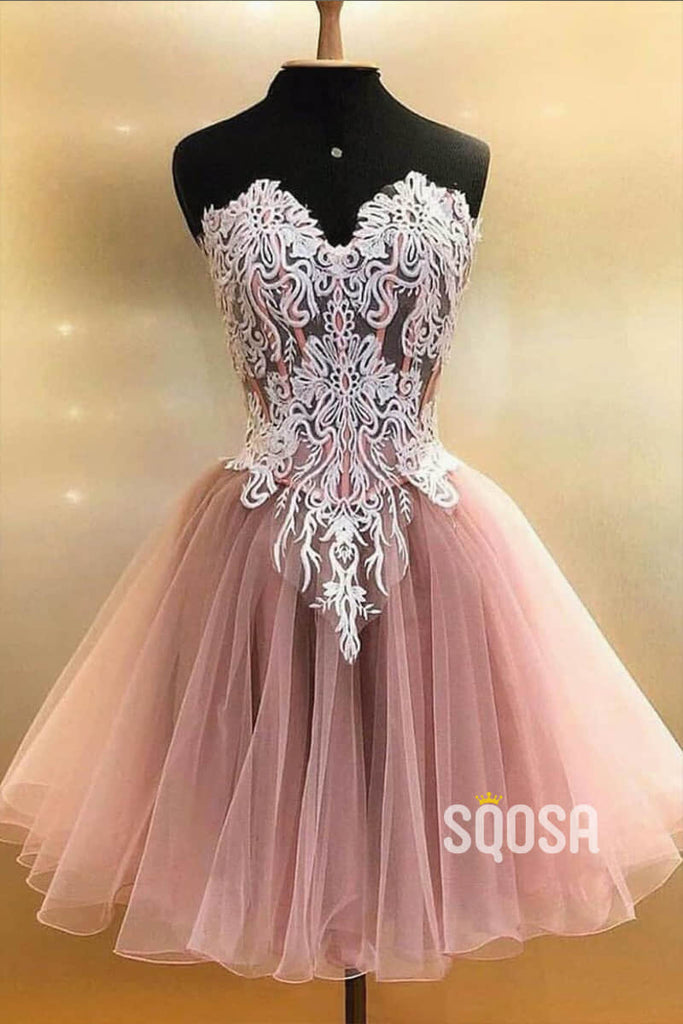 A-line V-neck Tulle Appliques Short Homecoming Dress Pageant Dress QS2109|SQOSA