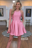 A-line Bateau Neckline Pink Satin Simple Homecoming Dress with Pockets QS2118|SQOSA