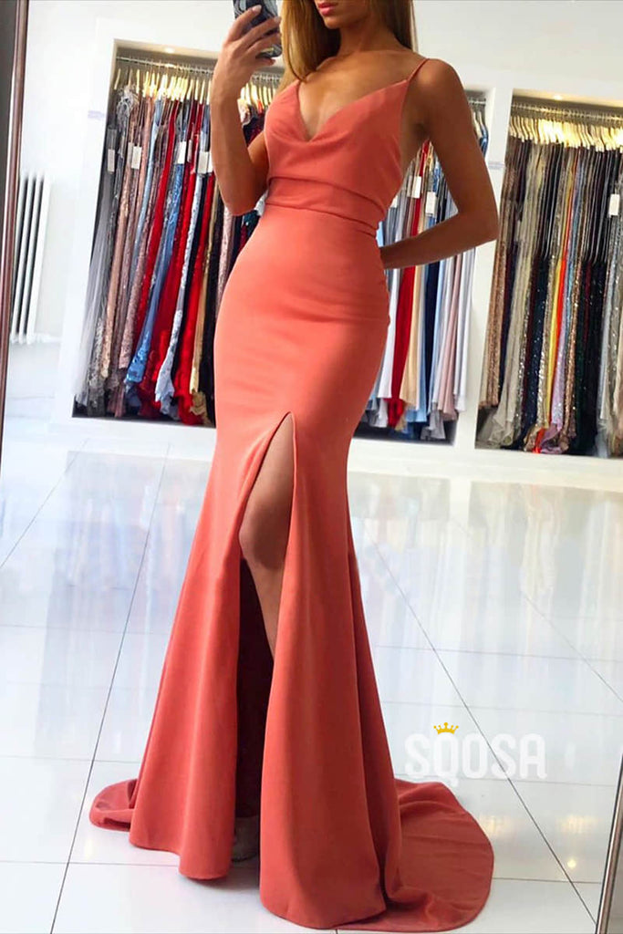 Mermaid/Trumpet Formal Dress V-neck High Split Long Prom Dress QP2600|SQOSA