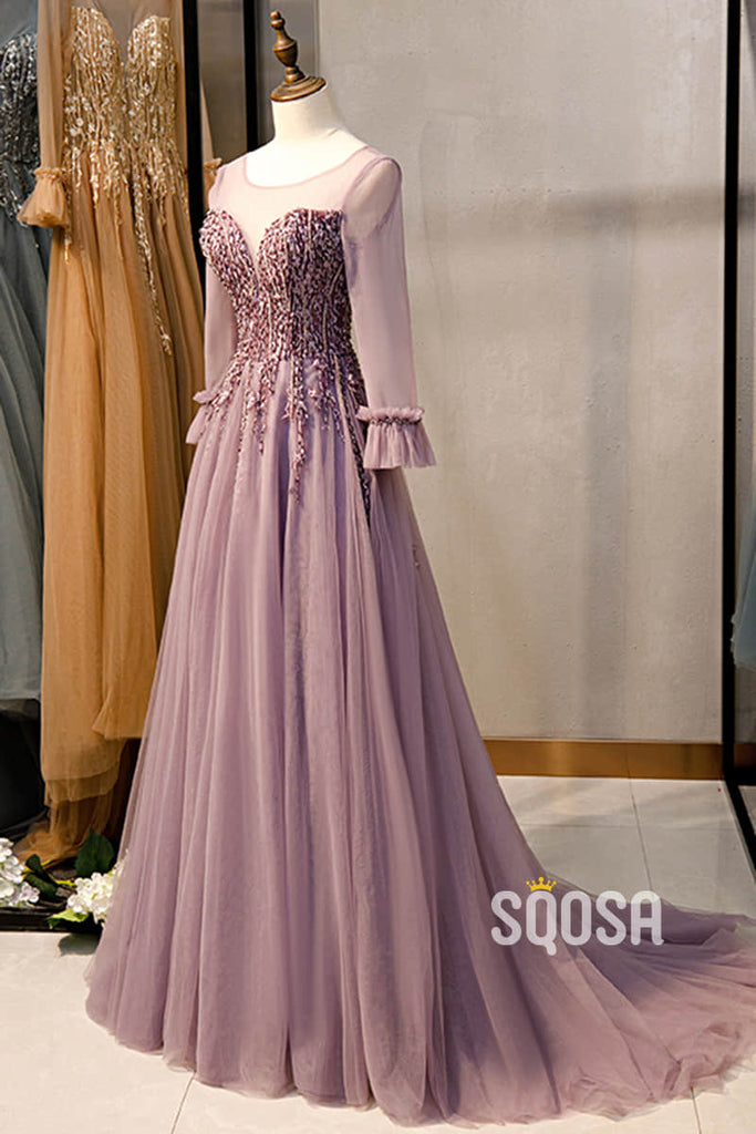 A-line Illusion Neckline Beaded Long Sleeves Long Formal Dress QP2639|SQOSA