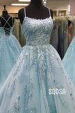 Unique Scoop Criss-Cross Straps Sky Blue Tulle Appliques A-Line Long Prom Dress QP1020
