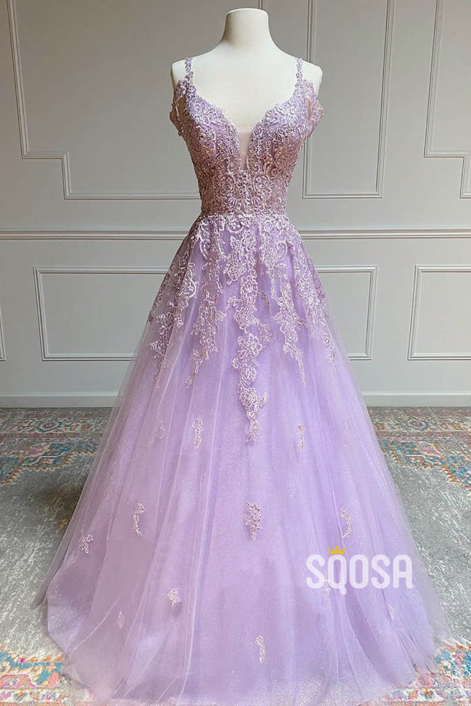 A-line V-neck Tulle Appliques Long Prom Dress QP2528|SQOSA