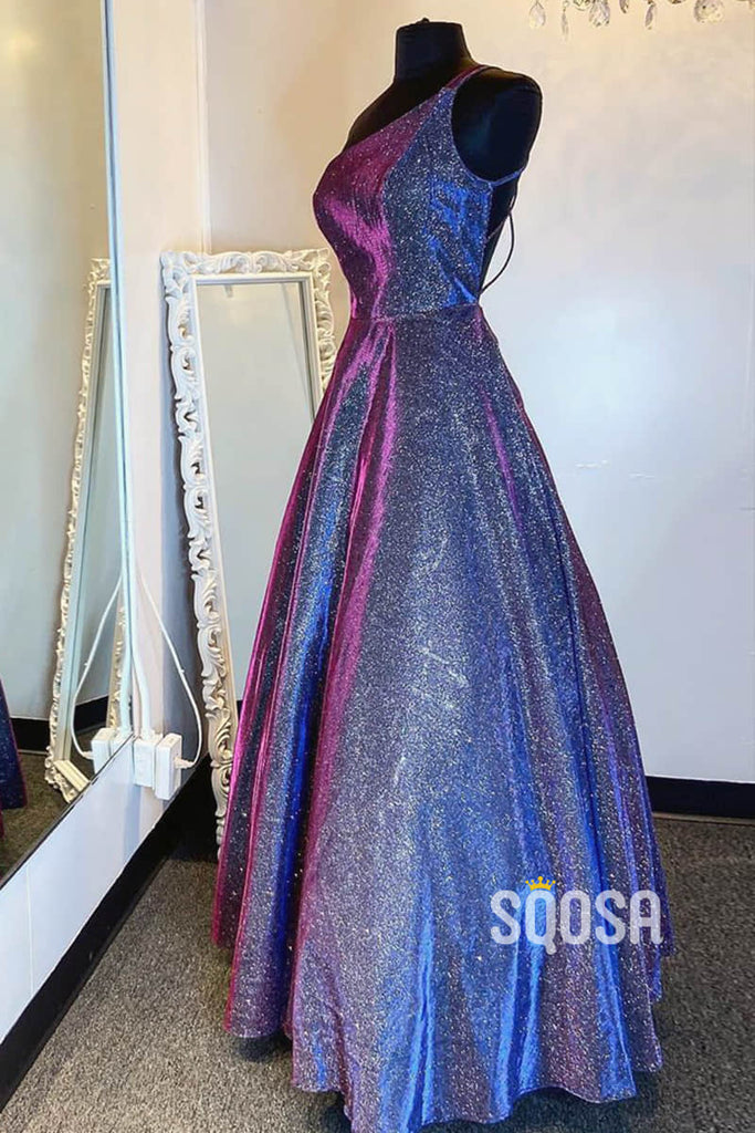 A-line One Shoulder Sparkly Prom Dress Formal Dress QP2545|SQOSA