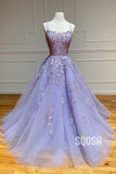 A-line Scoop Tulle Appliques Long Prom Dress QP2553|SQOSA