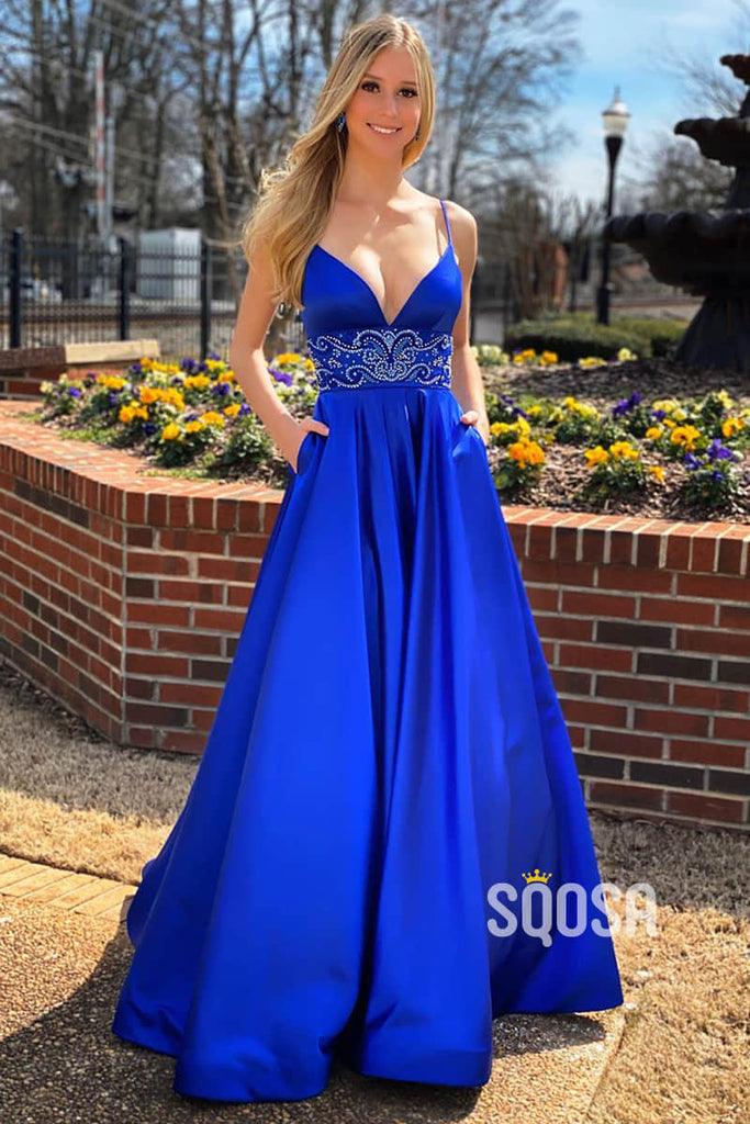 A-line Royal Blue Satin Beaded Long Prom Dress with Pockets QP2561|SQOSA