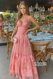A-line V-neck Pink Tulle Tiered Long Formal Evening Dress QP2389|SQOSA