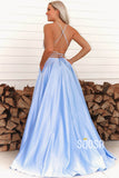 A-line Sky Blue Satin Scoop Simple Prom Dress Pageant Dress QP2391