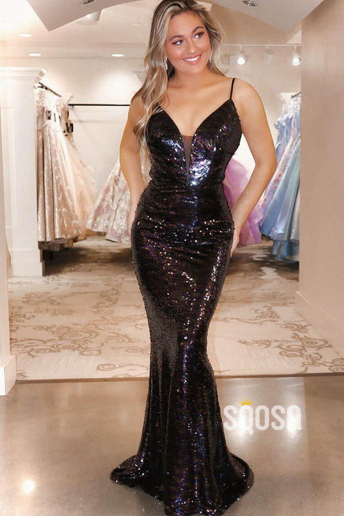 Mermaid/Trumpet Black Sequins Spaghetti Straps Long Prom Dress QP2392|SQOSA