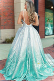 A-line V-neck Chic Ombre Sequins Long Prom Dress Pageant Dress QP2394|SQOSA