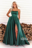 A-line Green Satin Scoop High Split Long Prom Dress with Pockets QP2395|SQOSA