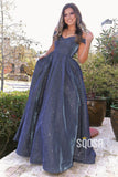 A-line Unique Off-the-Shoulder Sparkly Prom Dress with Pockets QP2397|SQOSA