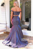 Mermaid/Trumpet Chic Off-Shoulder Purple Long Prom Dress Glitter Pageant Dress QP2398|SQOSA