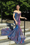 Mermaid/Trumpet Chic Off-Shoulder Purple Long Prom Dress Glitter Pageant Dress QP2398