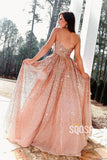 A-line Spaghetti Straps Sparkle Prom Dress with Pockets Pageant Dress QP2399|SQOSA
