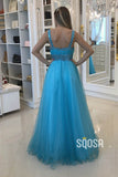 A-line Blue Tulle Beaded Long Formal Evening Dress QP2400|SQOSA