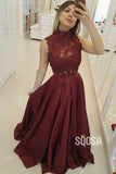 A-Line High Neckline Lace Top Burgundy Long Formal Evening Dress QP2403|SQOSA