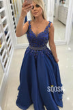 A-line V-neck Appliques Beaded Blue Long Formal Evening Dress QP2407|SQOSA