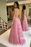 A-line Spaghetti Straps V-neck Tulle Long Formal Evening Dress QP2414|SQOSA
