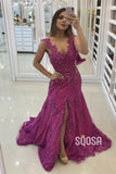A-Line Fuchsia Tulle Beaded High Split Long Formal Evening Dress QP2418|SQOSA