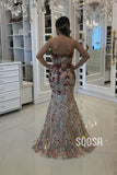 Mermaid/Trumpet Evening Dress Sweetheart Floral Tulle Appliques Long Formal Dress QP2424|SQOSA