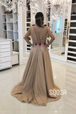 A-line Attractive V neck Champagne Tulle 3D Flowers Long Formal Evening Dress QP2426|SQOSA