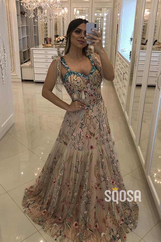 A-line Double Straps Sweetheart Chic Floral Tulle Appliques Long Formal Evening Dress QP2427|SQOSA