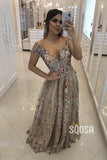 A-line Unique Scoop Floral Tulle Beaded Long Formal Evening Dress QP2428|SQOSA