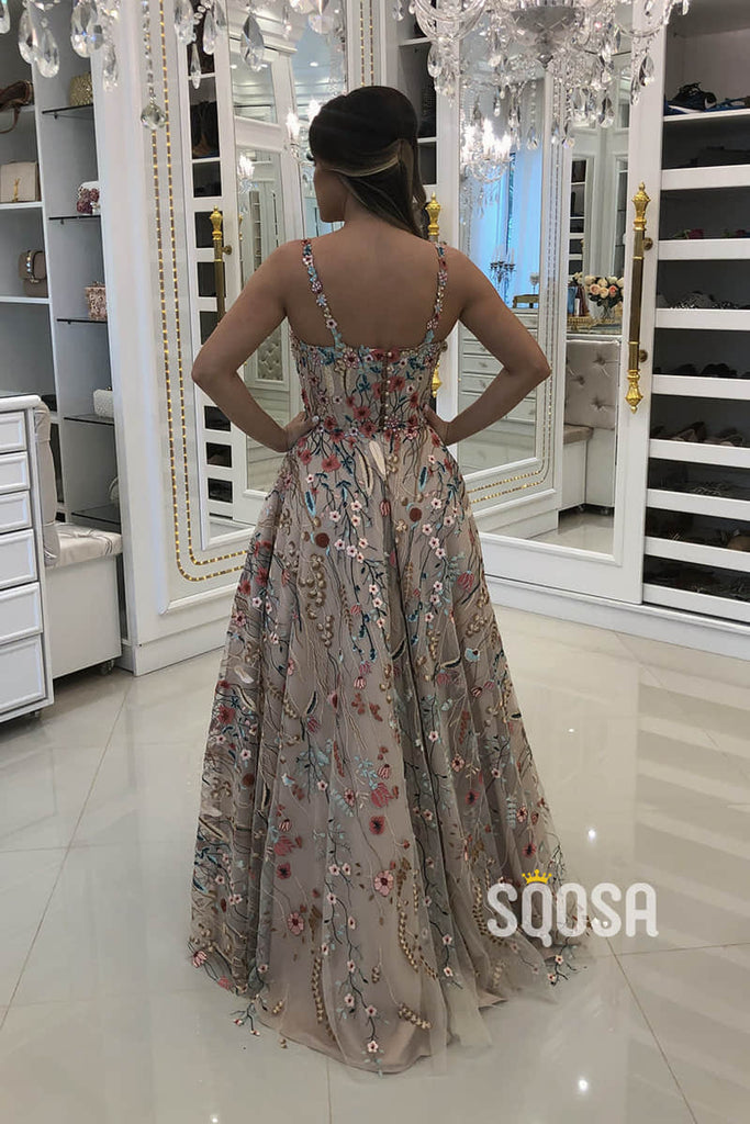 A-line Sweetheart Spaghetti Straps Floral Tulle Beaded Long Formal Evening Dress QP2429|SQOSA