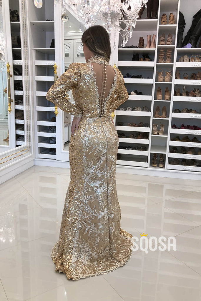 Sheath/Column Evening Dress Unique High Neck Gold Lace Long Sleeves Formal Dress QP2436|SQOSA