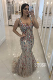 Unique Floral Tulle Spaghetti Straps Mermaid Formal Evening Dress QP2437|SQOSA