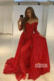 Mermaid/Trumpet Wedding Dress Off-the-Shoulder Red Lace 3/4 Sleeves Long Formal Evening Dress QP2440|SQOSA