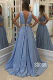 A-line Attractive V-neck Waist Beaded Blue Long Formal Evening Dress QP2241|SQOSA