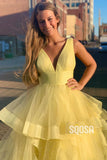 Ball Gown Yellow Tulle Attractive V-neck Long Senior Prom Dress Pageant Dress QP2245|SQOSA