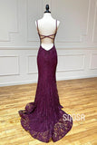 Mermaid/Trumpet Spaghetti Straps Grape Lace Beaded Long Prom Dress Formal Evening Dress QP2452|SQOSA