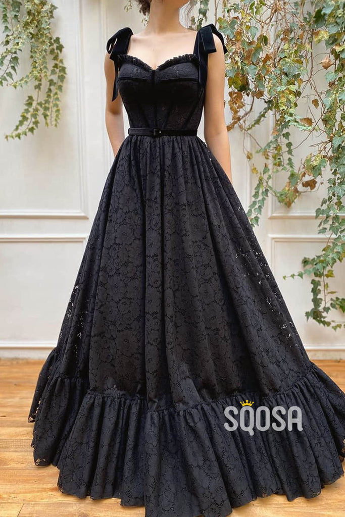 A-line Sweetheart Black Lace Long Formal Evening Dress Prom Dress QP2464|SQOSA