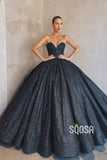 Ball Gown V-neck Sparkle Prom Dress with Pockets Formal Evening Dress QP2474