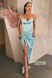 Sheath/Column Sky Blue Stretch Satin V-neck High Split Long Prom Dress QP2476|SQOSA