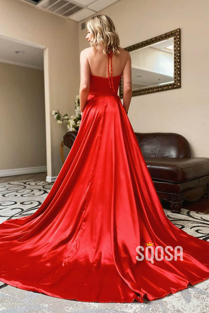 A-Line Halter Red Stretch Satin High Split Simple Prom Dress with Pockets QP2479|SQOSA