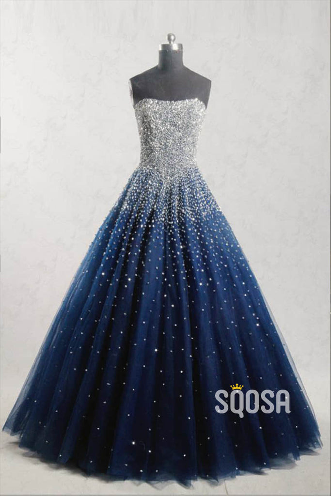 A-line Strapless Royal Blue Tulle Beaded Long Prom Dress Glitter QP2480|SQOSA