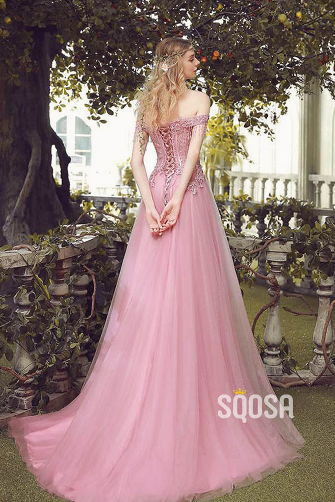 A-line Off-the-Shoulder Pink Tulle Appliques Long Prom Dress QP2482|SQOSA