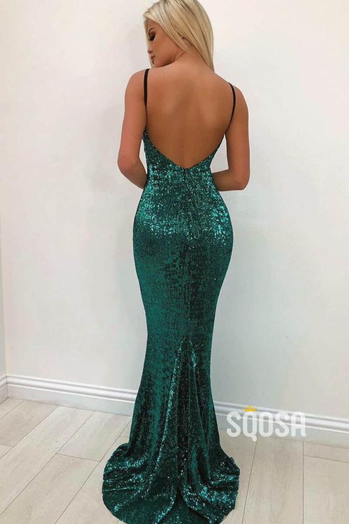 Mermaid/Trumpet Prom Dress Spaghetti Straps V-neck Sequins Long Party Dress QP2484|SQOSA