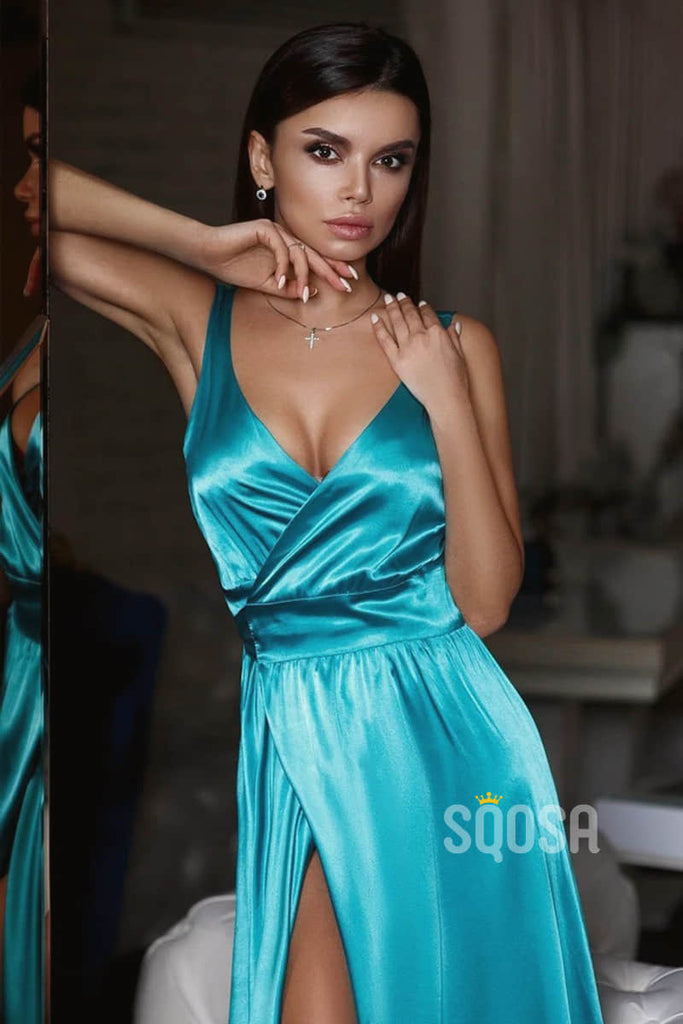 A-Line V-neck Blue Satin Long Prom Dress with Slit QP2124|SQOSA