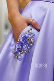 A-line Chic Scoop Spaghetti Straps Lavender Satin Long Prom Dress with Pockets QP2130