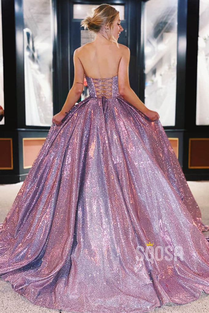 A-line Sweetheart Sparkle Prom Dress Formal Evening Gowns QP2133