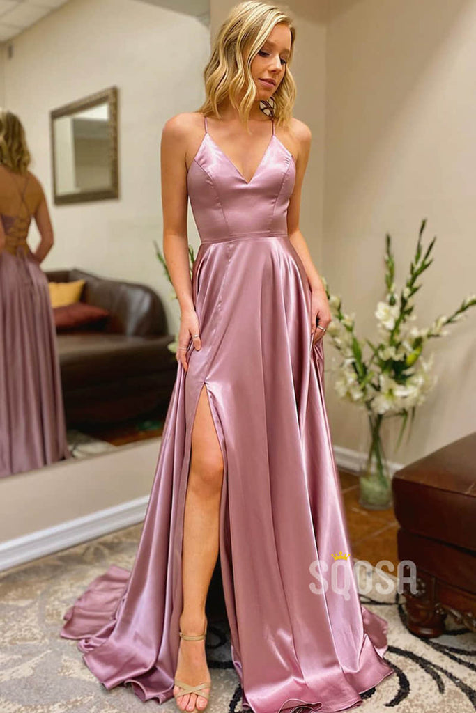 AA-line V-neck Spaghetti Straps High Split Long Prom Dress with Pockets QP2134|SQOSA